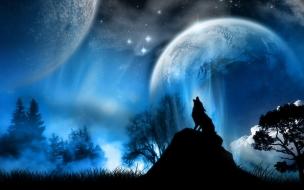 Fondo de pantalla lobo en luna llena