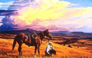Fondo de pantalla caballo y su jinete