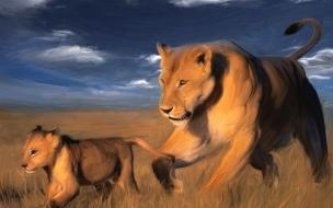 Fondo de pantalla hermosa pintura de felinos