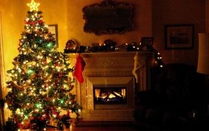 Fondos de Pantalla Arbol de Navidad con Chimenea