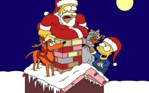 Fondos hd Homero Simpson entrando por la chimenea