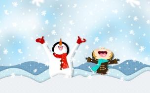 Fondos de pantalla muñeco de nieve alegre por la nieve