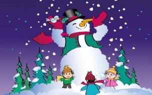 Fondos hd muñeco de nieve hecho por niños
