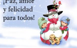 Fondos hd niños junto a muñeco de nieve