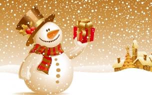 Fondos hd muñeco de nieve con regalo