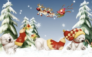Fondos hd Osos Polares en Navidad