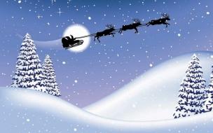 Fondos hd arbolitos con nieve y los renos volando