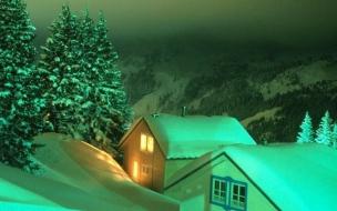 Fondos hd casas en medio de montañas con nieve