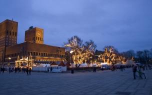 Fondo hd la ciudad en navidad