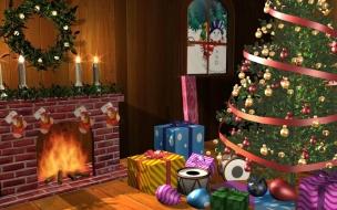 Fondos hd sala con arbolito y llena de regalos