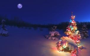 Fondo de pantalla arboles con nieve y uno encendido