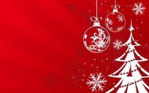 Fondos de pantalla rojo con arbol y bolitas navideñas