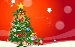 Fondo de pantalla arbol de navidad con regalos