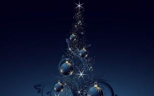 Fondo de pantalla arbol de navidad con bolas azules y destellos