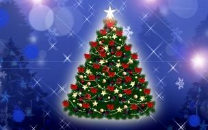 Arbolito de Navidad decorado con lazos rojos