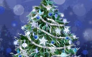 Fondo de pantalla arbol con adornos azules