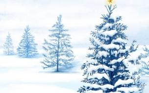 Arboles Navideños con nieve