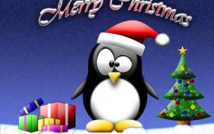 Fondos hd pinguino con regalos