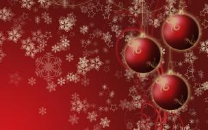 Fondos hd bolas rojas con nieve