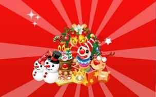 Fondos hd divertida con regalos y muñecos de nieve