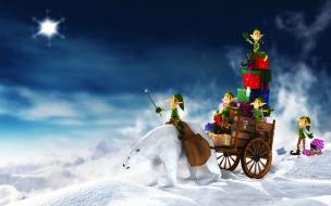 Fondos hd oso polar con regalos