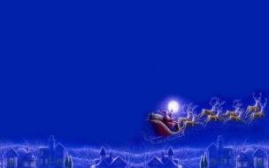 Fondos hd papanoel volando cerca de la luna