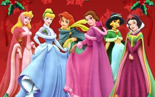 Fondos hd princesas de disney con vestidos navideños