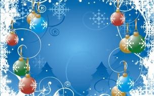 Adorno de navidad con fondo celeste