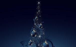 Arbol de navidad con fondo azul
