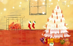 Arbol de navidad blanco con regalos