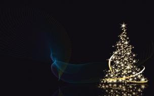 Arbol de navidad con fondo negro