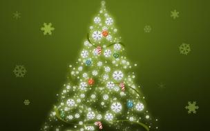 Arbol de navidad con fondo verde