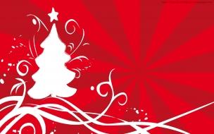 Arbol de navidad en fondo rojo