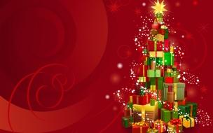 Arbol de navidad hecho con regalos