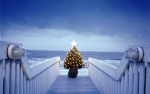 Arbol de navidad en la playa