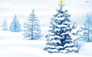 Arbol de navidad lleno de nieve