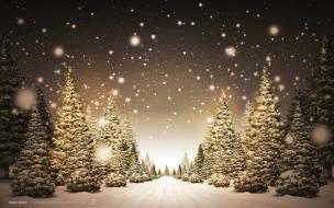 Camino nevado en navidad
