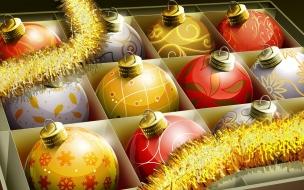 Bolas de Navidad en su caja