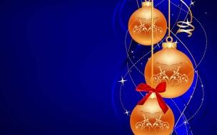 Bolas naranjas navideñas con fondo azul