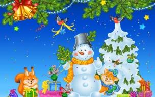 Ardillas con muñeco de nieve en navidad