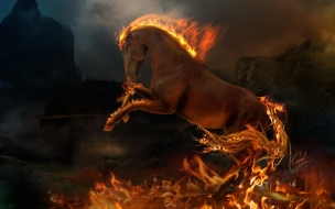 3D Burning Horse