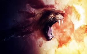 Fondo de pantalla pintura de leon rugiendo