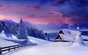 Casas llenas de nieve