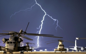 Lightning strikes near airbase