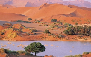 Rio junto a desierto
