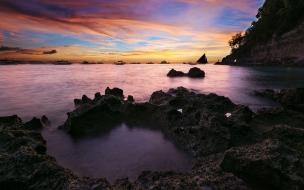 Coastal sunset seascape