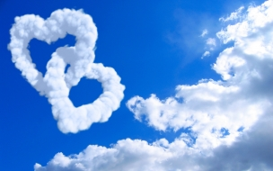 Hearts in clouds wide