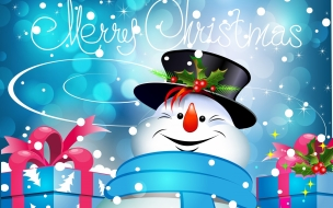 Merry christmas con Muñeco de Nieve