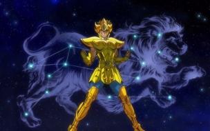 Los Caballeros del Zodiaco Alma de Oro El Caballero de Leo Aioria Con la Armadura