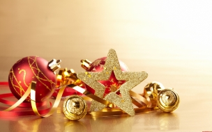 Fondo de pantalla navideno con estrellas y adornos tipicos